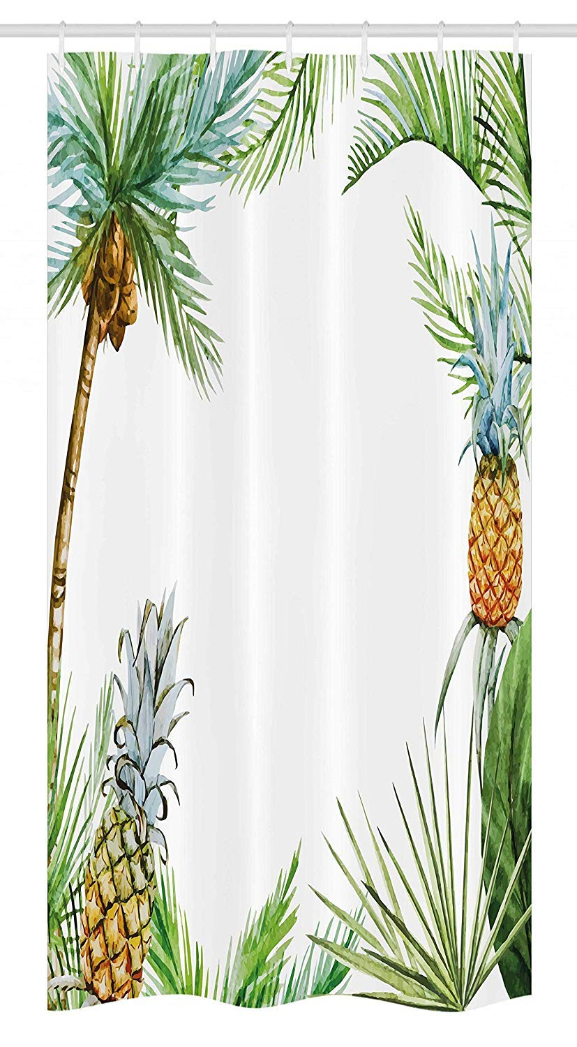 Printing Pineapple Stall Shower Curtain, Watercolor Tropical Island Style Border Print Exotic Fruit Palm Trees and Leaves, 72 x 84 Inches Multicolor
