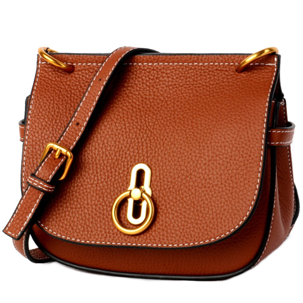 Fashion Retro Saddle Bag British Style Bag Wild Ladies' Shoulder Bags,Brown-(LxWxH):20x8x18cm