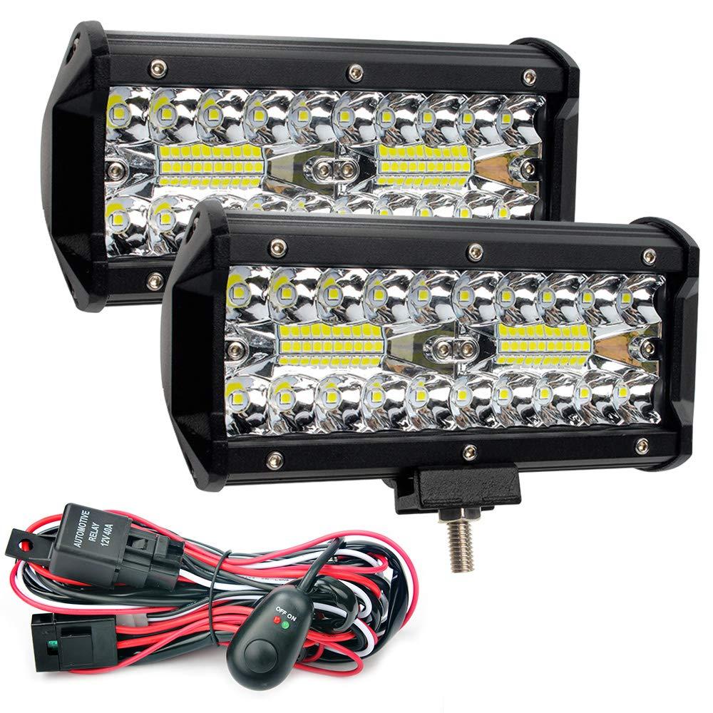 Waterproof LED Light Bars with Wring Harness, GES 2Pcs 6.5Inch 24000lm 240W LED Pod Flood Combo Beam Spotlight Off Road Lights Fog Lights for SUV Jeep Trucks ATV Cars