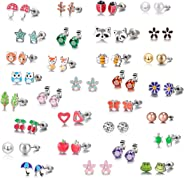 30 Pairs Stainless Steel Mixed Color Cute Animals Fox Heart Star Ladybug Bee Frog Mushroom Tree Daisy Umbrella Rose Gold Whi