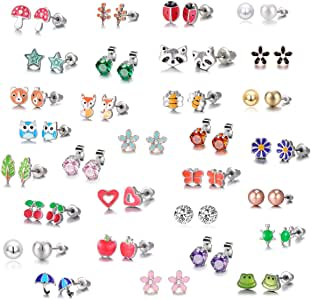 21 Pairs Stainless Steel Mixed Color Cute Animals Fox Heart Star Ladybug Bee Frog Mushroom Tree Daisy Umbrella Rose Gold White Pearl Stud Earrings Set (Animal Tree Pearl)