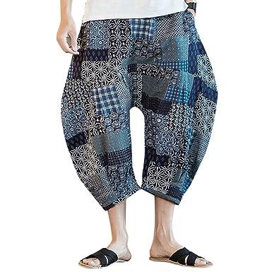 Zhhlinyuan Pantalones Bombachos para Hombres Impreso harén ...
