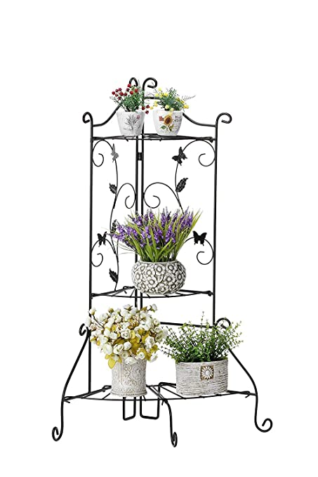 4a87f690ab98 Image Unavailable. Image not available for. Color: Worth Garden Plant Stand  Foldable 3-Tier Shelf Black Metal ...