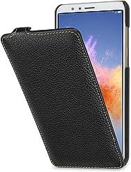 StilGut UltraSlim Case, Custodia Flip Case per Huawei Honor 7X in Vera Pelle, Nero