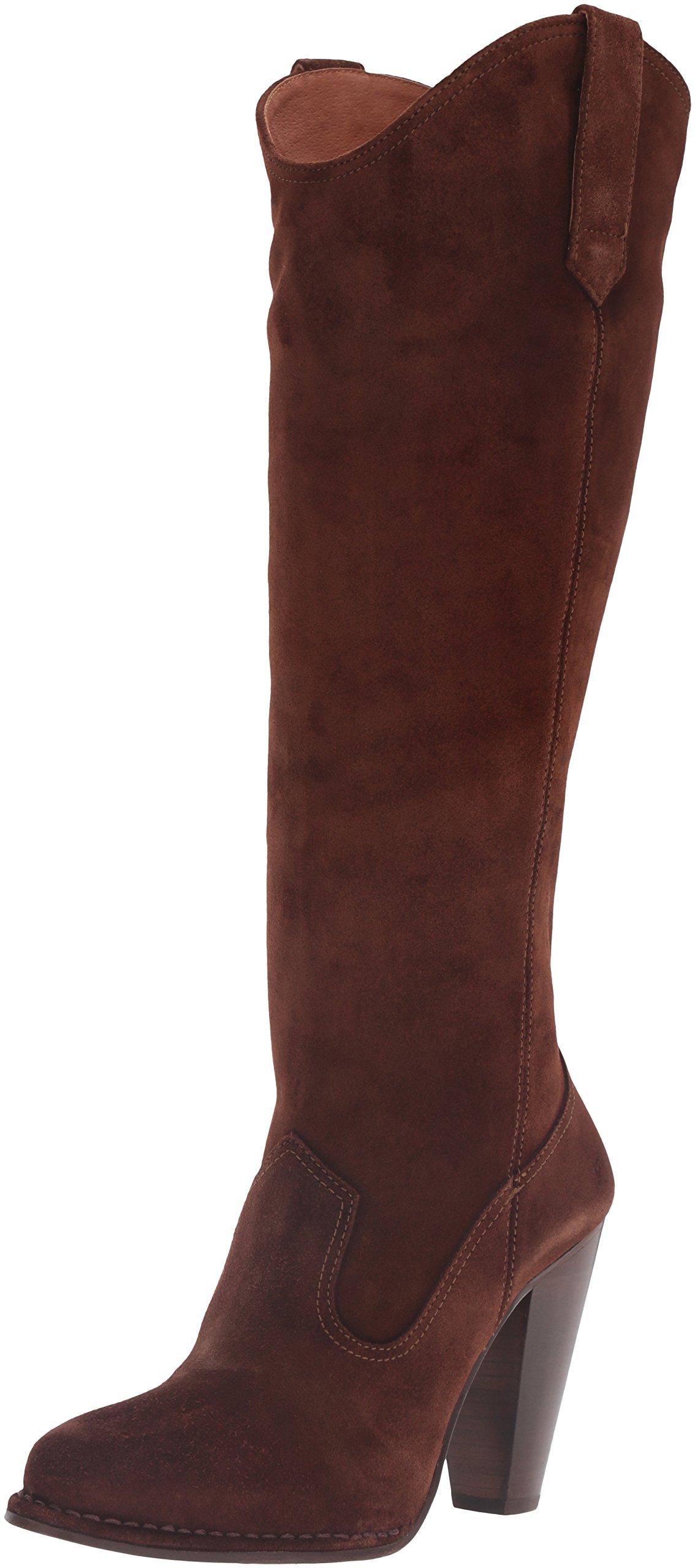 FRYE Women's Madeline Tall Western Boot, Brown, 8 M US