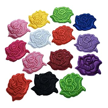 Amazon Com 20pcs Set Fabric Mixed Rose Patches Diy Embroidered