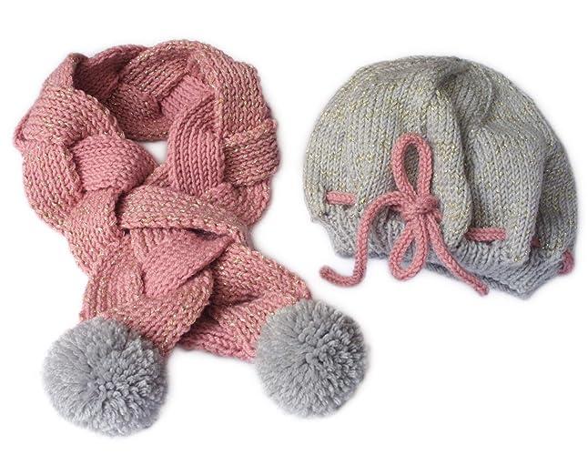 Elegante Set per bambina in lana. Fatto a mano. Sciarpa e cappello. Fatto 761c937e3b47