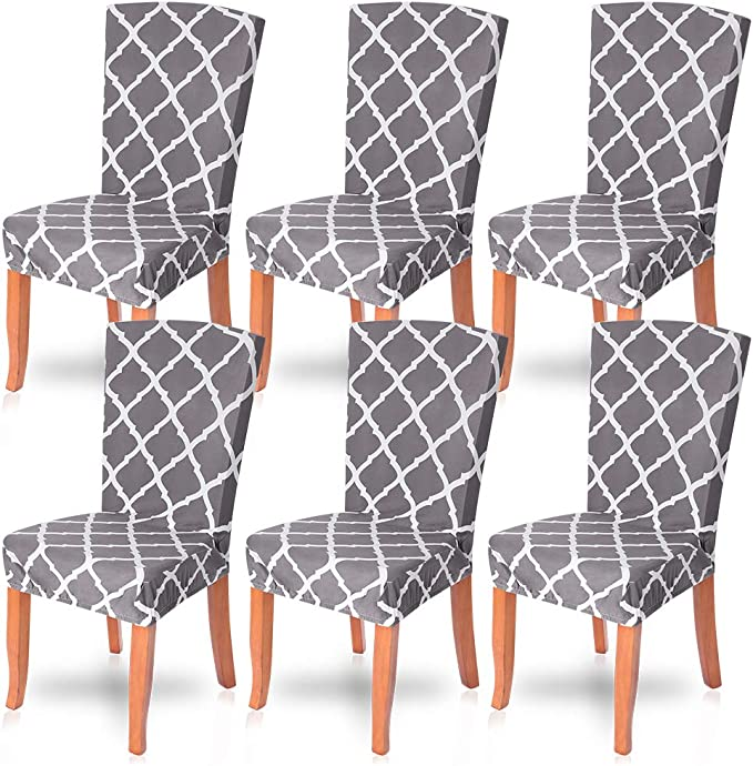 NIBESSER Stretch Dining Chair Slipcovers Set of 6, Spandex Dining Chair Covers Elastic Chair Protector Seat Covers for Dining Room Wedding Banquet Party Decoration