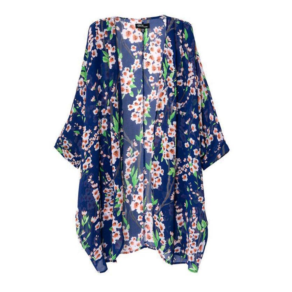 WAYLONGPLUS Womens Bikini Cover Up Floral Print Sheer Chiffon Loose Beachwear BKNCO-002