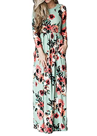 35ff5d77a93a Women's Floral Print Long Sleeve Boho Casual Party Beach Long Maxi Dress  Green S at Amazon Women's Clothing store: