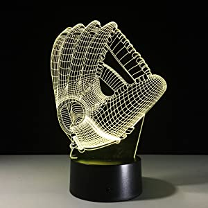 DowBier 3D Illusion Multi Colors USB Sleeping Night Light Desk Lamp Room Decoration (Baseball Glove Mitten)