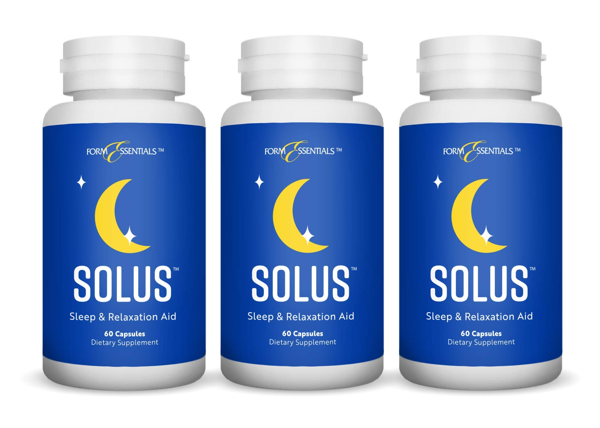 Form Essentials, Solus, All Natural Herbal Sleep Aid and Relaxation Supplement with L-Tryptophan, Melatonin, Chamomile, Valerian, 5-HTP, 60 Capsules (3 Pack)