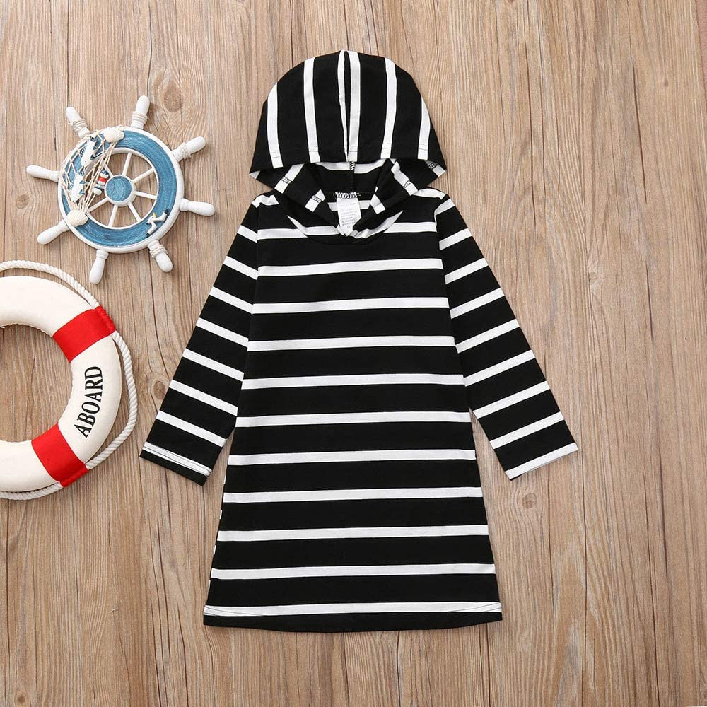 KONFA Teen Toddler Baby Girls Striped Hooded Dress,Suitable for 0-5 Years Old,Little Princess Sundress Skirt Clothing Set