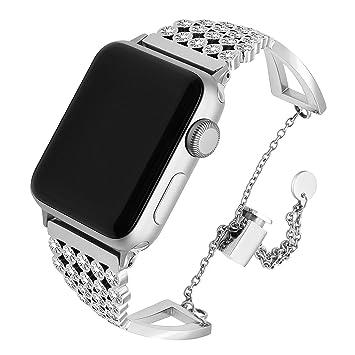 TRUMiRR pour Apple Watch Band 42mm Femmes Dames, Cristal Bracelet en Acier  Inoxydable Bracelet en 17d66baeae7