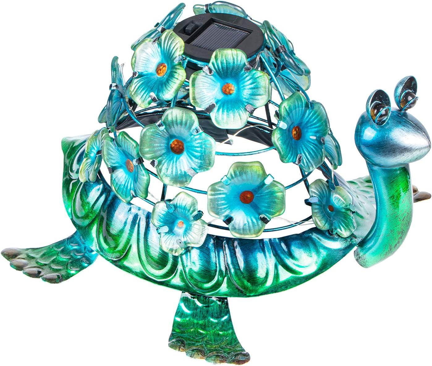 VCUTEKA Solar Light Outdoor Waterproof - Metal Turtle Floral Solar LED Lights Garden Figurine Light for Patio Lawn Yard Decor, Ideal Gift