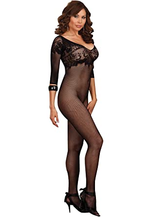 9a842ad1eaa Amazon.com  Dreamgirl Plus Size Fishnet Bodystocking with Sleeves White  Queen  Lingerie Sets  Clothing