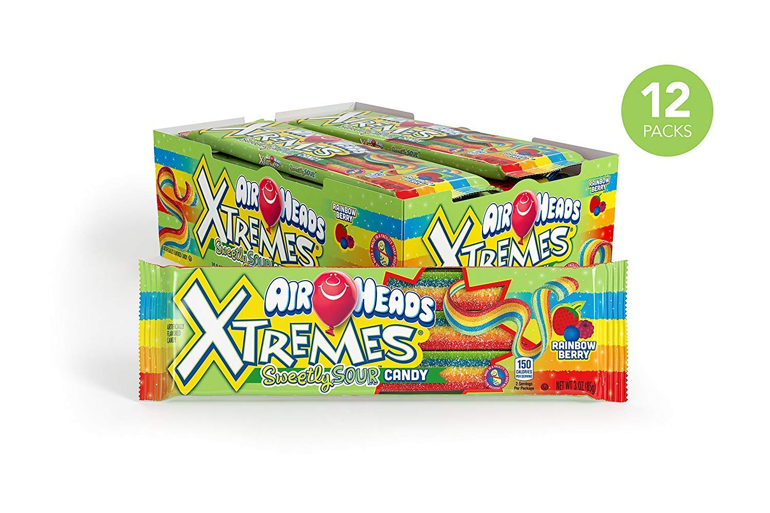 AirHeads Xtremes Sweetly Sour Candy Belts, Rainbow Berry, Party, Non Melting, 3 Ounce Pack of 60 (Pack of 60) by Airheads
