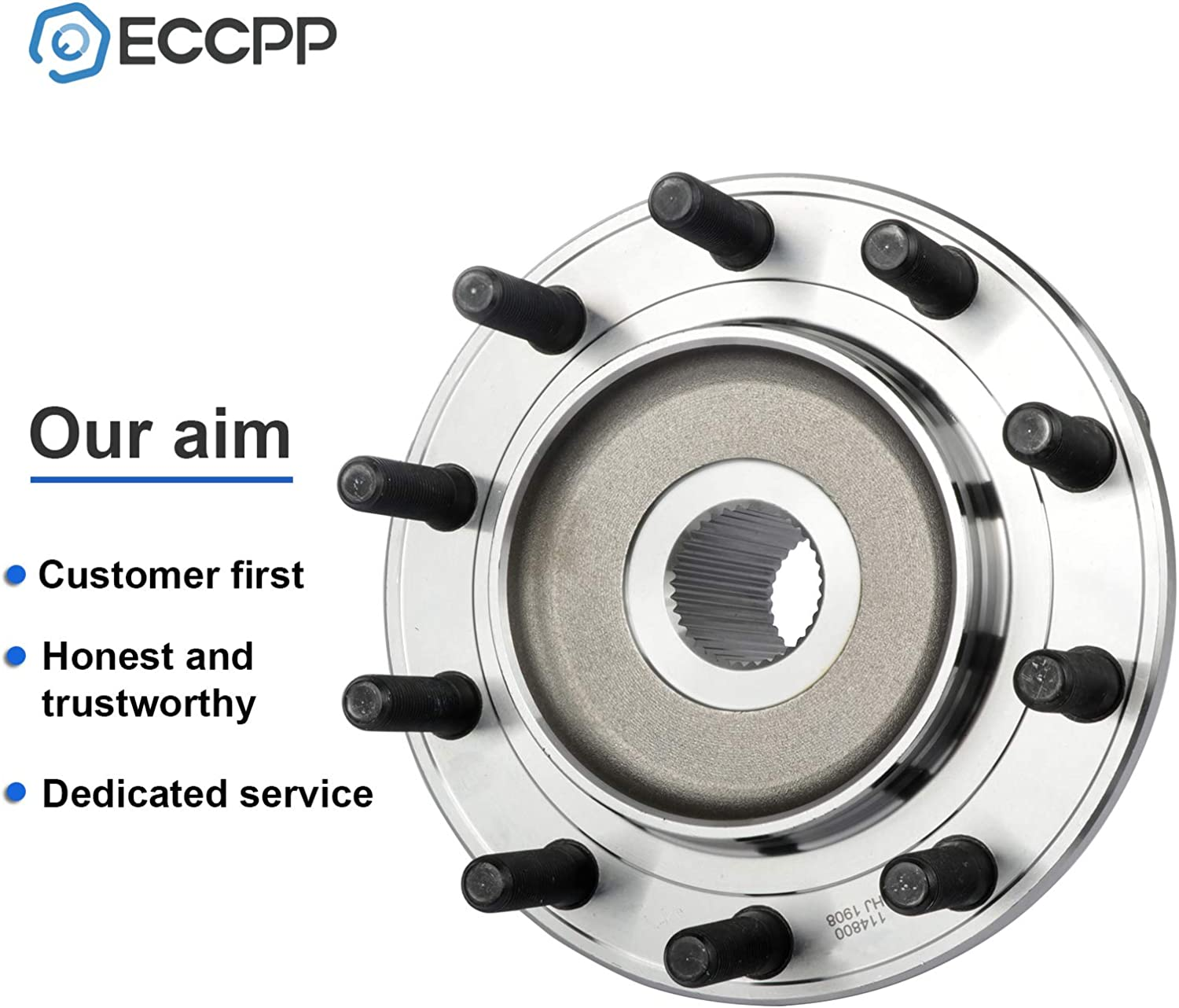 ECCPP Wheel Hub and Bearing Assembly Front Axle 515102 fit for 2008-2010 Dodge Ram 4500 2008-2010 Dodge Ram 5500 Replacement for Wheel Bearing Hubs 10 Lugs 1 pcs
