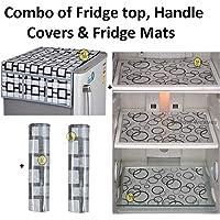 Yellow Weaves™Combo of Exclusive Decorative 1 Fridge Top Cover, 2 Fridge Handle Covers + 3 Fridge Mats (Grey & Black, 6 Piece Set)