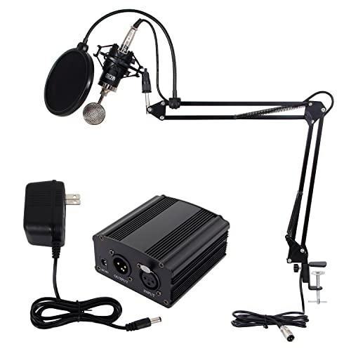 TONOR Microphone Set Recording Mic with XLR Stand Pop Filter Mount Holder Phantom Power Adapter Kit