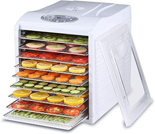 BioChef Arizona Sol Food Dehydrator 9 x BPA FREE Stainless Steel Drying Trays Digital Timer - Includes 3 x Non Stick 3 x Fine Mesh Sheet Drip Tray. Best Drier for Raw Food, Fruit, Jerky White