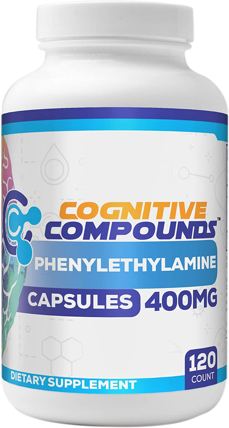Phenylethylamine Capsules 400mg - Nootropic Brain Health Supplement 120ct - Cognitive Compounds