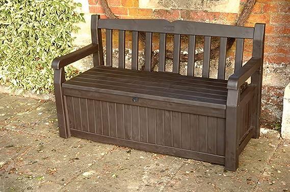Muebles de jardín Bancos de cajón con cerradura de resina 140 cm 265 litros, marrón,Brown: Amazon.es: Hogar