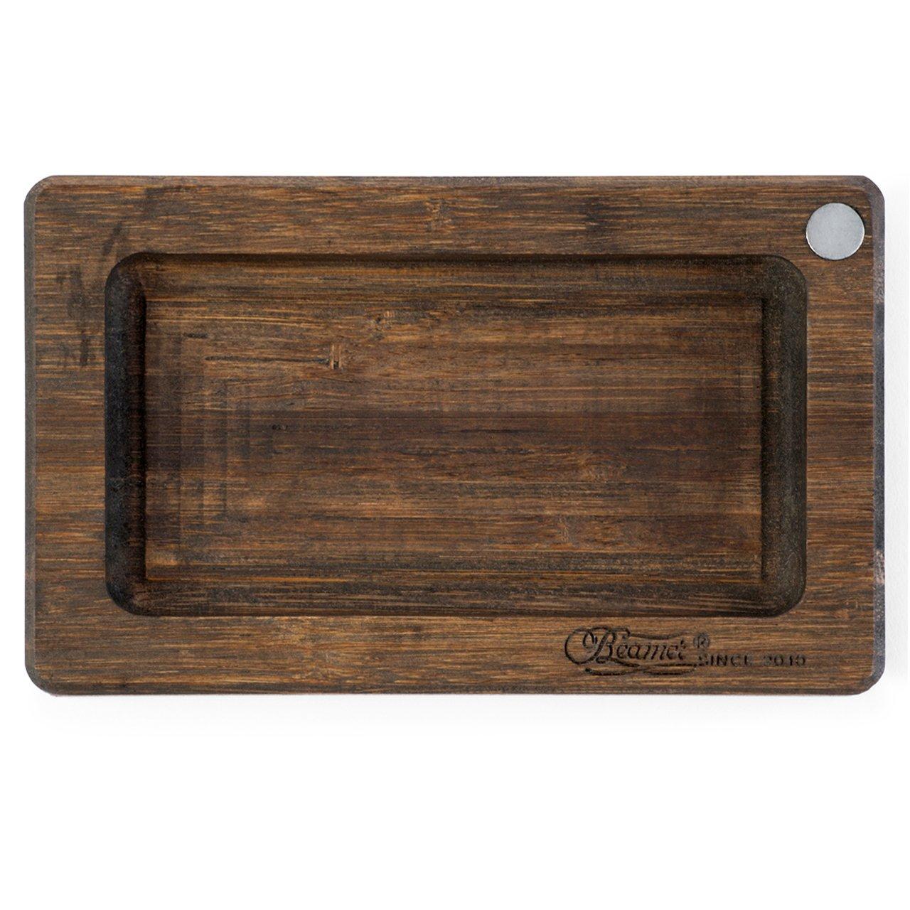 Beamer Smoke Pocket Natural Bamboo Rolling Tray, Dark, 6'' x 3.5'', 4.79 Ounce