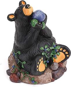 DEMDACO Berry Heaven Black Bear 5 x 4 Hand-cast Resin Figurine Sculpture