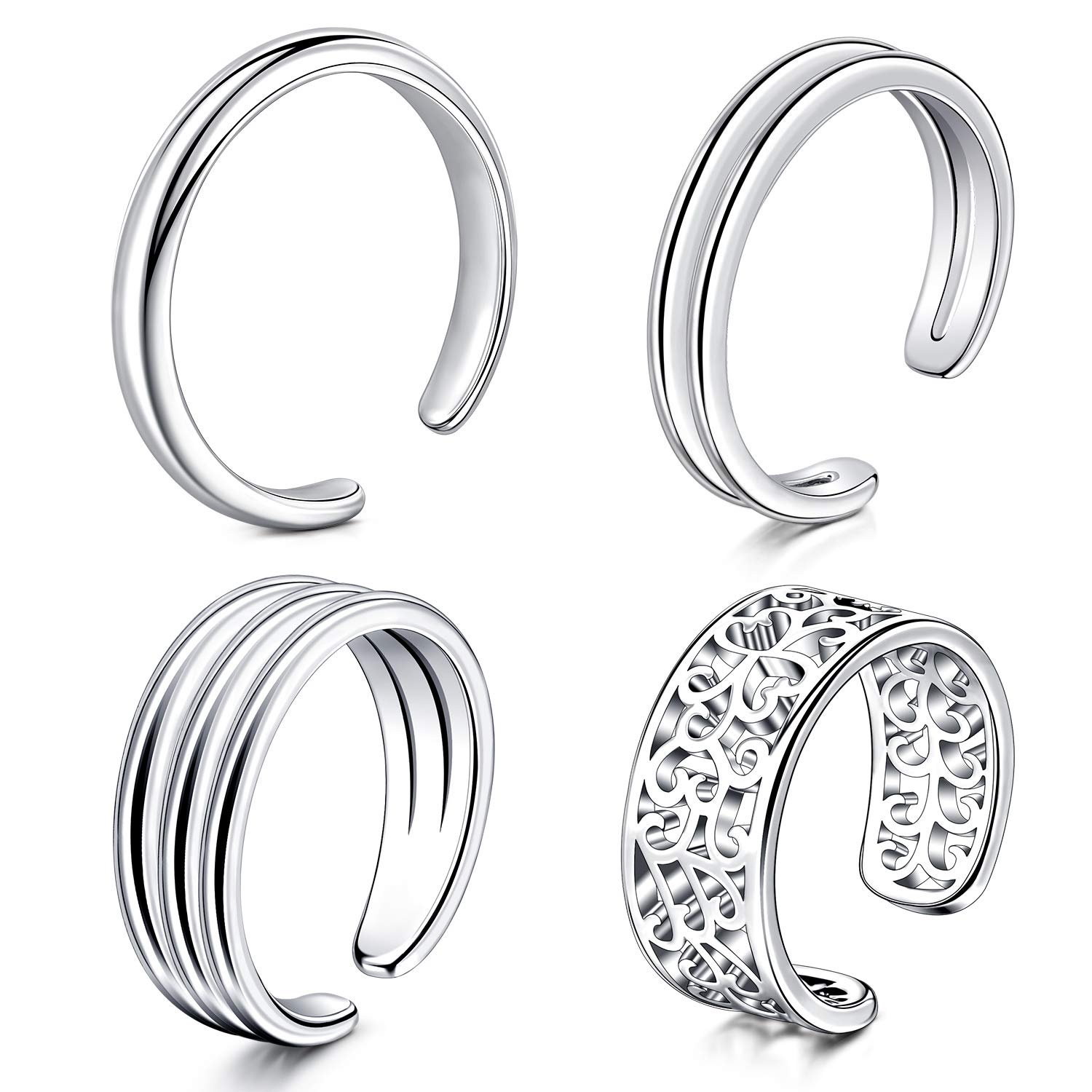 Anicina Adjustable Toe Rings Set Simple Open Thin Band Hollow Flower Cuff Ring Forefinger Rings Open Band Foot Rings Set Gifts for Women