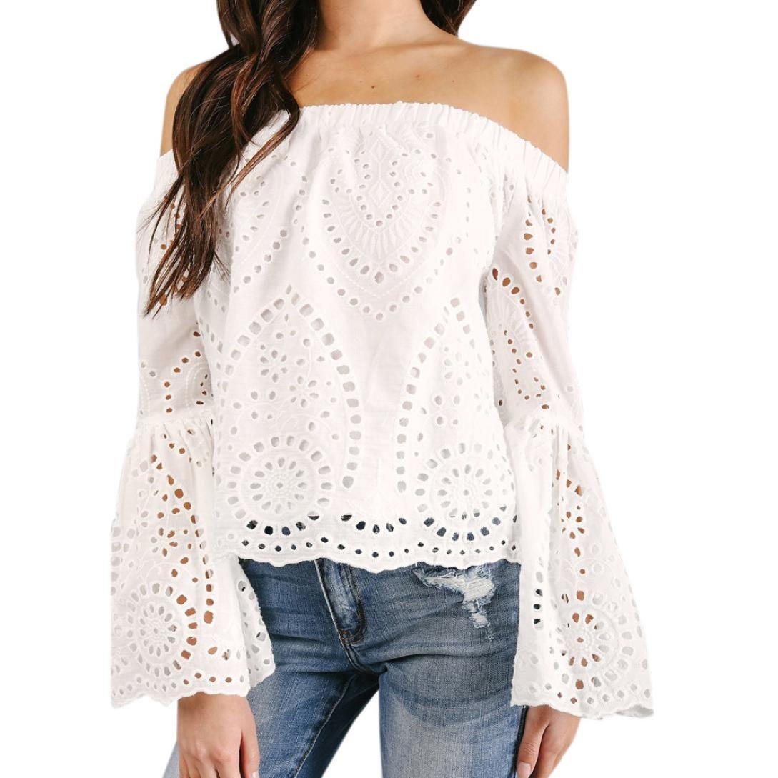 Camiseta Mujer ❤ Amlaiworld Blusa con hombros descubiertos Hueco sexy Mujer Suelto Camiseta Casual de manga larga con cuello en V Tops camisas mujer ...