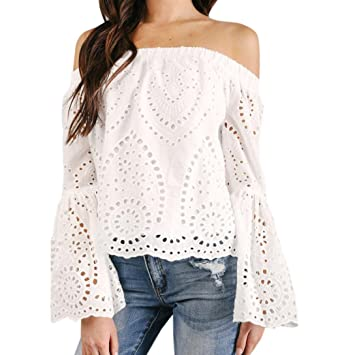 Camiseta Mujer ❤ Amlaiworld Blusa con hombros descubiertos Hueco sexy Mujer Suelto Camiseta Casual de