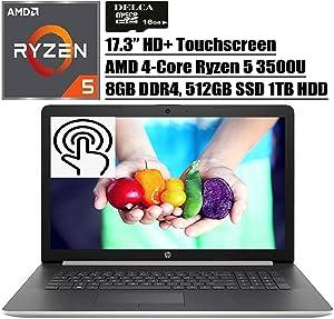 "HP 17 2020 Newest Premium Laptop Computer I 17.3"" HD+ Touchscreen I AMD Quad-Core Ryzen 5 3500U (>i7-7500U) I 8GB DDR4 512GB SSD 1TB HDD I WiFi HDMI Backlit KB DVD Win 10 + Delca 16GB Micro SD Card"
