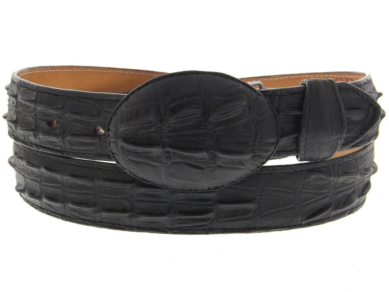 Mens Black Crocodile Tail Leather Western Belt Round Buckle 48 Cowboy Professional
