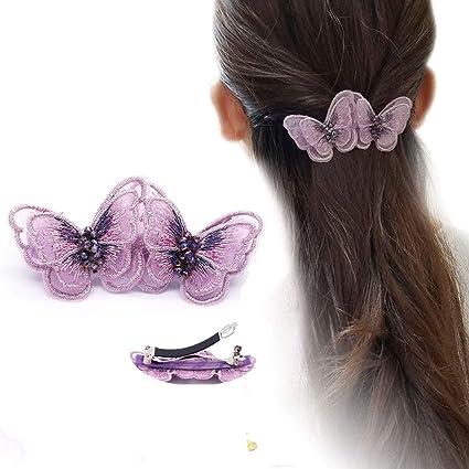 Pasador de mariposas Broche para el pelo con mariposas de hilo de seda bordado Accesorios para el cabello Herramientas de belleza -púrpura: Amazon.es: Belleza