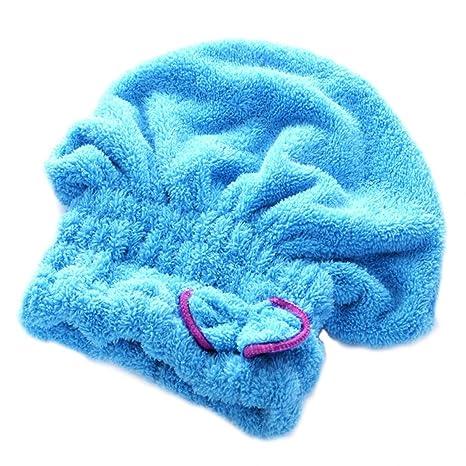 Brillante textil de microfibra de pelo turbante rápidamente cabello secado con toalla envuelta de baño azul