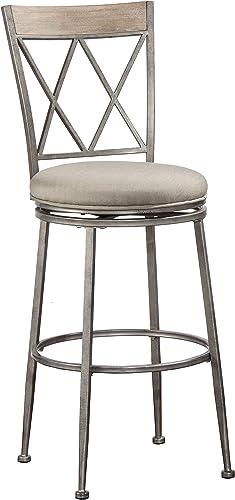 Hillsdale Furniture Stewart Indoor Outdoor Swivel Bar Height Stool, Aged Pewter