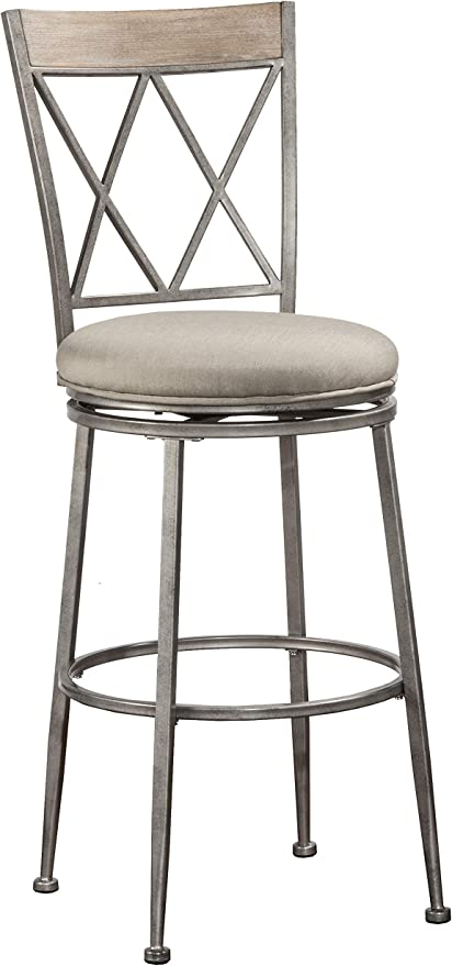 Amazon Com Hillsdale Stewart Indoor Outdoor Swivel Bar Height Stool Barstool Aged Pewter Furniture Decor
