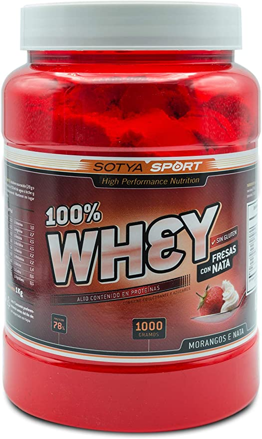 SOTYA Proteina Whey 100% Fresa y Nata 1 kg: Amazon.es: Salud ...