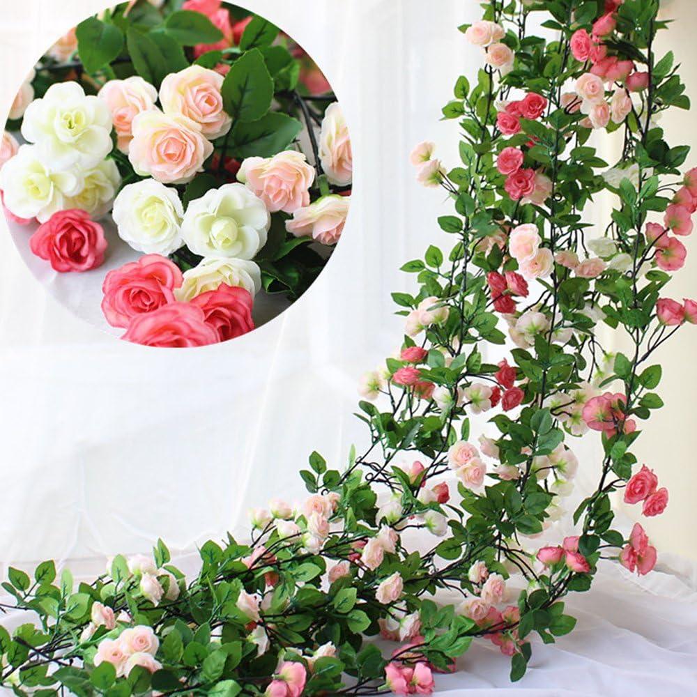 Li Hua Cat Lot de 3 Guirlande de roses artificielles Avec feuilles vertes 160/cm
