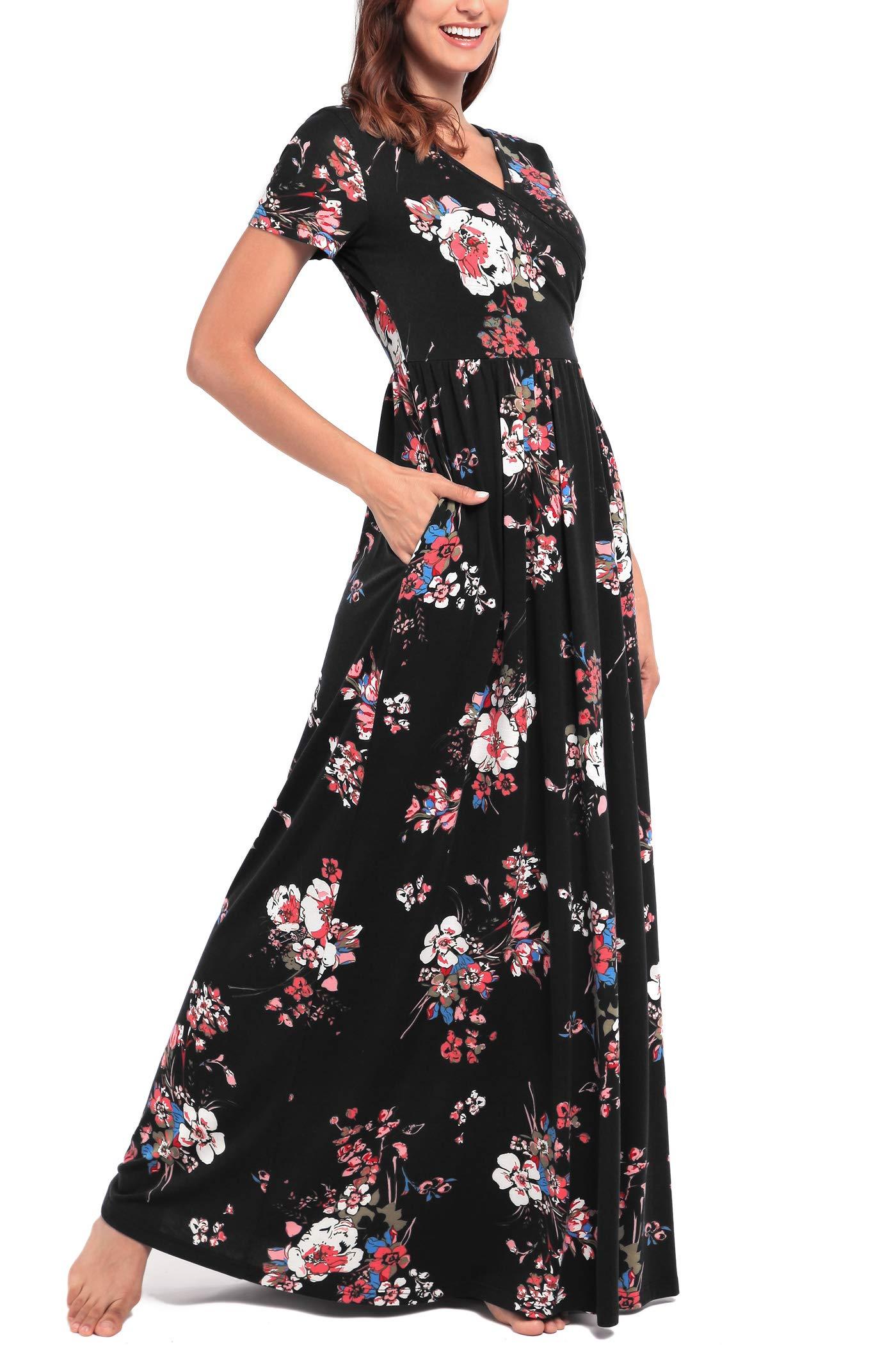 Comila Short Sleeve Maxi Dresses for Women, Summer V Neck Dress Pockets Vintage Floral Maxi Casual Dress with Pockets Elegant Work Office Long Dress Black S (US 4-6) by Comila (Image #4)