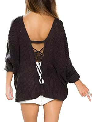 Choies Women Brown Long Sleeve V-neck Bandage Tie Back Knit Jumper Loose Sweater Tops Onesize