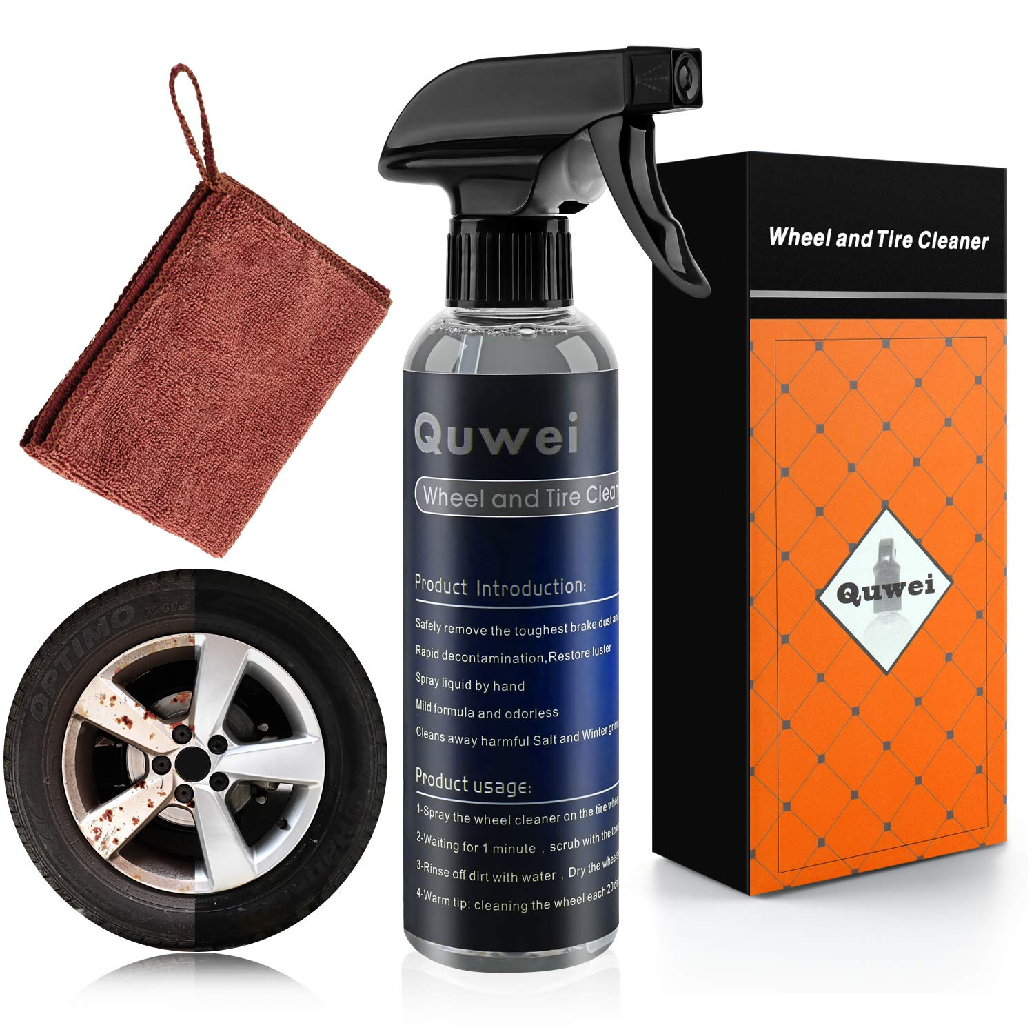 Quwei Wheel and Tire Cleaner - car Wheel Cleaner - Wheel and tire Cleaner kit - Safe decontamination Cleaning Rust Remover Iron Removal Alloy Wheel Cleaner Chrome Aluminum Clear Oxide Ring