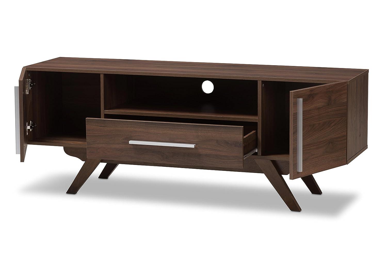 Amazon com baxton studio aulden mid century modern walnut brown finished wood tv stand kitchen dining