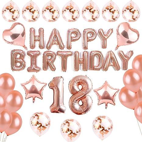 SANCUANYI 18th Happy Birthday Cumpleaños Globo Oro Rosa y 20 Piezas de Globos para Fiestas para
