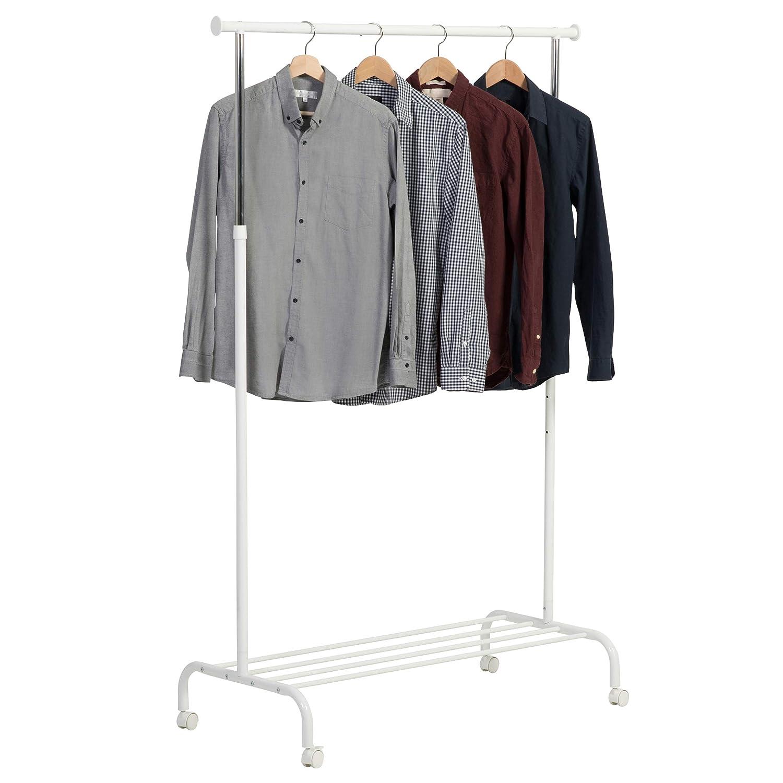 axentia Garderobe auf Rollen, Kleiderständer aus Metall, höhenverstellbarer Garderobenständer, Kleiderstange mit Feststellbremse und Schuhablage, ...