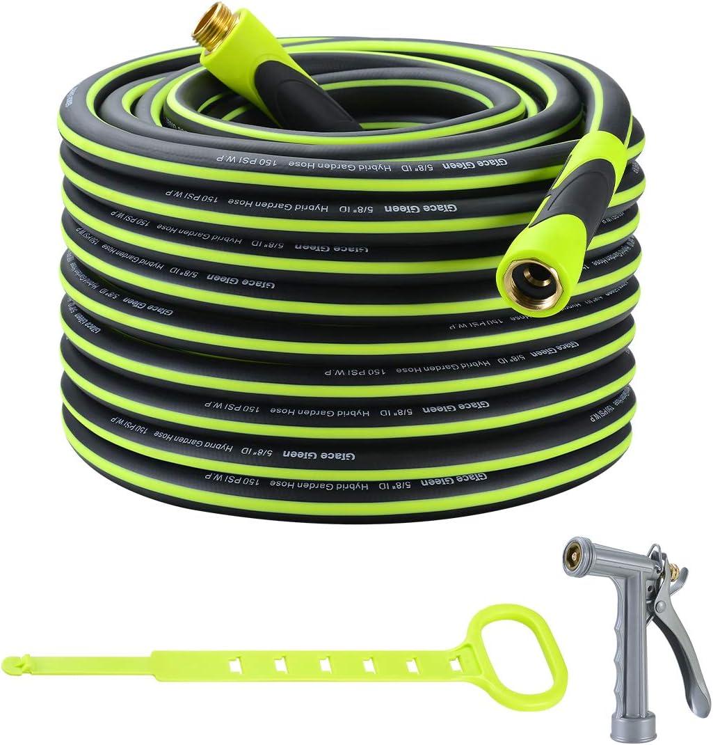 Grace Green Garden Hose,Hybrid 5/8 in.×100FT Water Hose, Both End SwivelGrip, Heavy Duty, Light Weight, Flexible