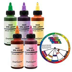 U.S. Cake Supply 2.3-Ounce Neon Airbrush Cake Food Colors 5 Bottle Kit with Color Mixing Wheel - Safely Made in the USA product