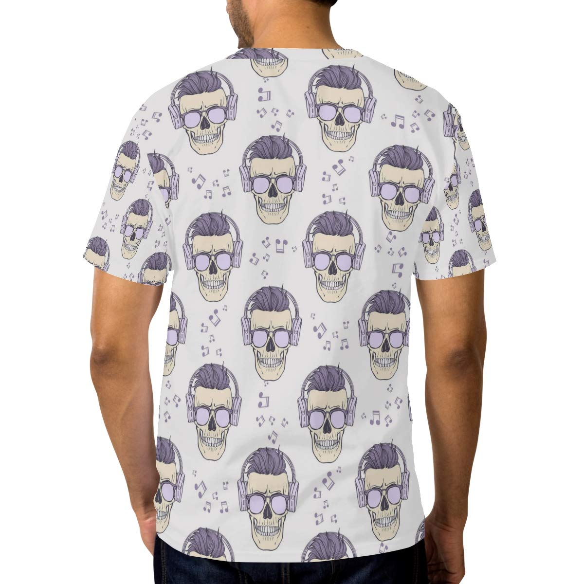 Horatiood Huberyyd Listen to Music Rose Skull Mens T Shirts Graphic Funny Body Print Short T-Shirt Unisex Pullover Blouse