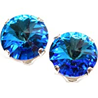 925 Sterling Silver stud earrings for women made with sparkling Bermuda Blue crystal from Swarovski®. London jewellery box. Hypoallergenic & Nickle Free Jewellery for Sensitive Ears.